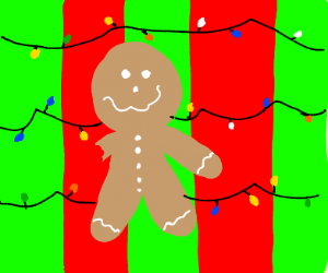 Gingerbread man missing a hand