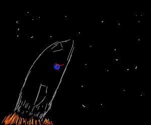 spaceship blasting off