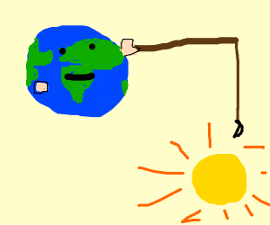 Earth fishing for the sun
