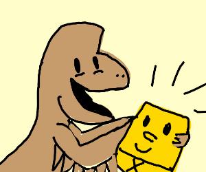 Dinosaur with sponge bob plushy