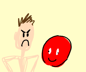 man angry at a living ball