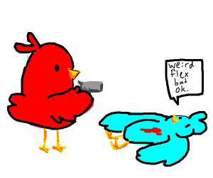 Bird does a very weird flex with a gun but ok