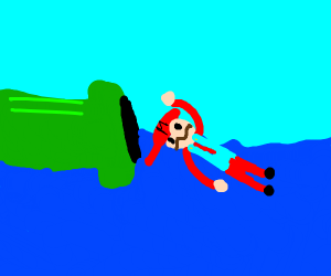mario is about to swim in a pipe