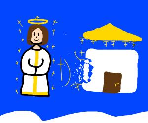 jesus building a house