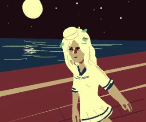 Cute sailor girl has leaves in her hair