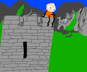 man sitting on a castle