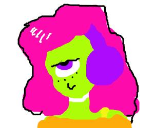 Green gorl with purple headphones