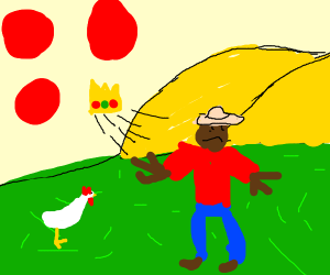 Angry farmer shoots red balls with crown