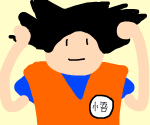 Goku doing his hair