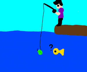 Man fishing with lettuce as bait