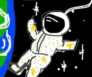 astronaut wearing glittery suit