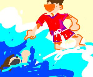 Ugly lifegaurd laughs at drowning like hecc