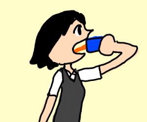 Penni Parker drinking Jumex