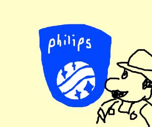 "Pink 'LG( Corp/ Electronics/.Philips)"" logo."