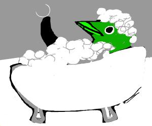 Green penguin enjoys his bubble bath