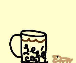 small light brown dog standing near full mug