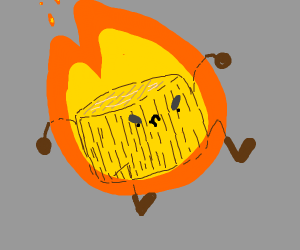 Angry flaming tree stump with arms + legs