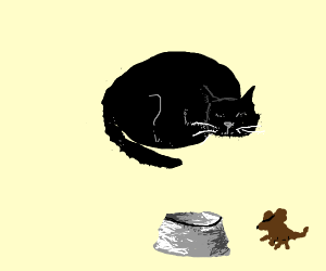 Mouse stealing food from the cat