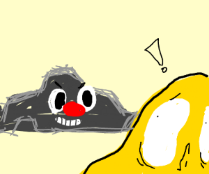 Yellow Blob scared by Evil Clown Rock