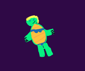 A female tortoise in a bikini