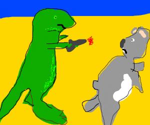 dinosaur shoots koala