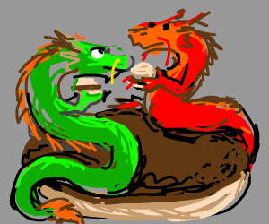 Two chinese dragons on a burger