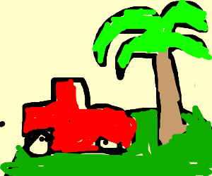 Truck on and island