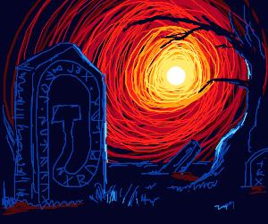 fire wormhole in a graveyard