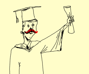 man with red mustache graduating