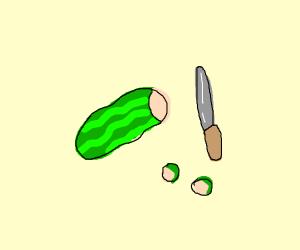Freshly cut zucchini