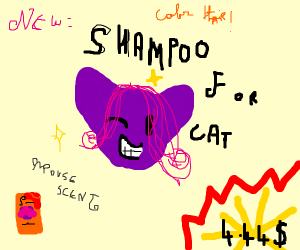 Purple Cat with Hair