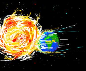 earth flying into sun