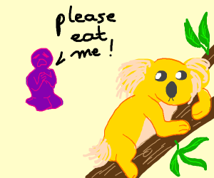Purple dude tells yellow koala to eat him
