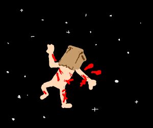 bloody dude in space with paper bag on head