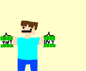 minecraft guy with green TNT