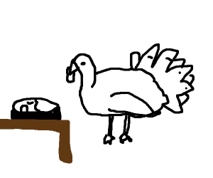 A turkey eating one of those microwave meals
