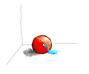 Red ball crying
