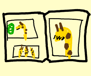 picture book with smiling giraffe owo