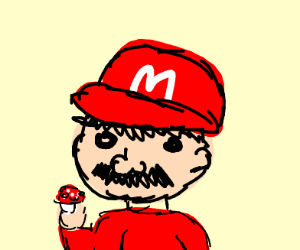 "Old man Mario eats a ""magic"" mushroom"