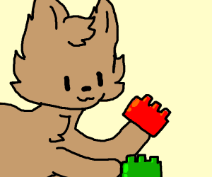 cat playing lego
