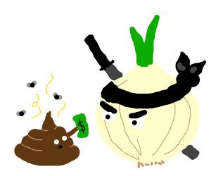 poo gives money to ninja onion