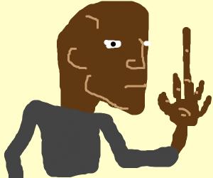 Bald guy has a long middle finger