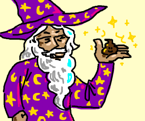 Wizard holding a poop with magic