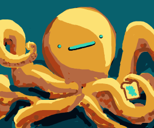 An octupus whit a slice of bread