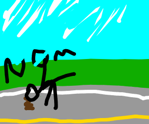 Stickman licking poo off the road