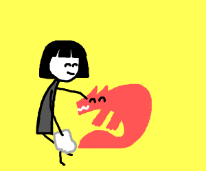 Girl holding sock strokes fox