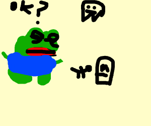 Frog sad because fren died