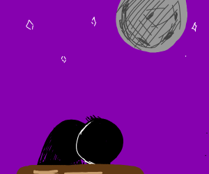 some people sitting on a bench under the moon