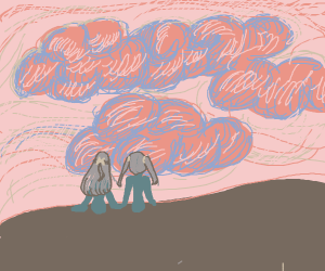 Two girls looking at clouds