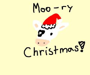 cow wearing a santa hat